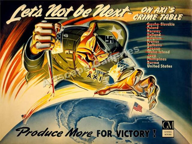 Defeat Axis! - 1940s WWII Propaganda War Poster - 18x24