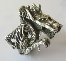 Secondhand 925 silver dragon biker ring size R