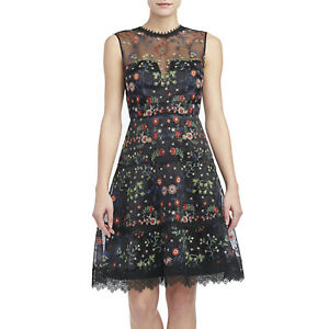 Elie Tahari Black Embroidered Organza Sleeveless Maritza