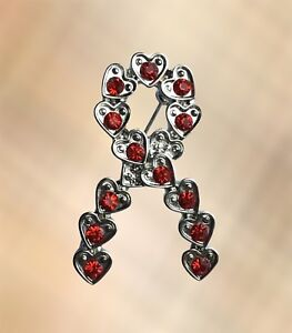 NEW Red Ribbon Charity Awareness Brooch Pin HIV Aids Stroke Heart Disease