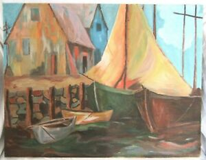 Vintage-Mid-Century-Oil-Painting-Folk-Art-Country-Primitive-Boat-Beach-Nautical