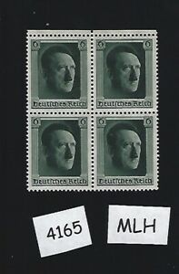 MLH-Adolph-Hitler-1937-stamp-block-PF06-Original-Third-Reich-Germany