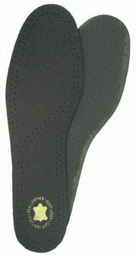 FULL LENGTH ODOUR RESISTANT INSOLES BLACK UK 3-4,14,15,16 DELUXE LEATHER
