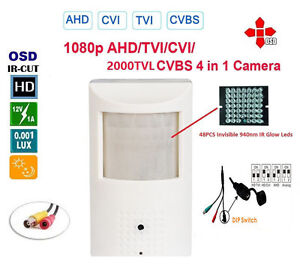HD CVI 2MP Spy Motion Detector Camera 1080p HD Invisible Infrared Nightvision