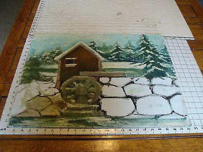 "20x24"" Winter Mill Scene On Masonite Tireless Original Rose Suslovich Art"