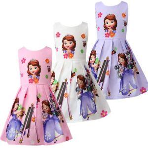 Girls-Skater-Dress-Kids-Sofia-The-First-Print-Casual-Party-Birthday-Dress-L24