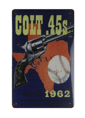 Houston Colt .45s firearm handgun tin metal sign outdoor art decor