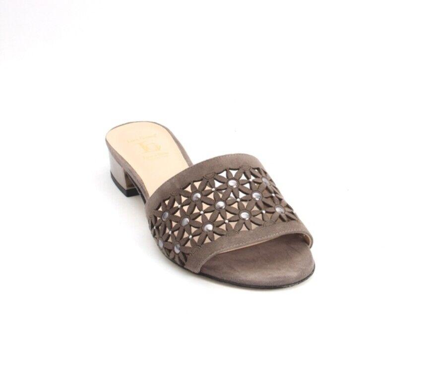 Luca Grossi 918c Grigio Bronze Suede Leather Heel Slides Sandals 40 / US 10