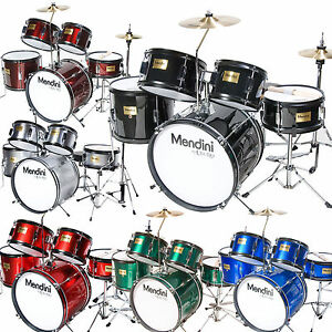 Mendini 5 Pcs Child Junior Drum Set Cymbal Throne Black Blue Red