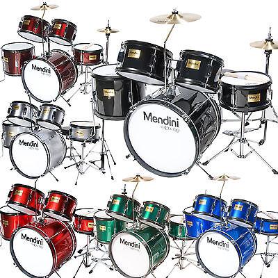 Mendini 5 pcs Child Junior Drum Set +Cymbal+Throne ~Black Blue Red Green Silver