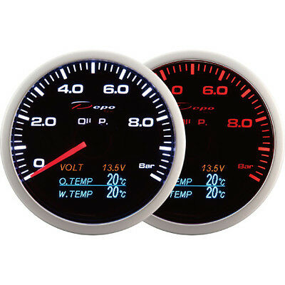 DEPO racing 60mm 4 in 1 Smoked Oil Pressure Volt Oil Temp/&Water Temp Gauge LED