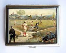 Vintage Baseball Game illustration Cigarette Case Wallet Business Card Holder