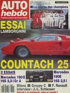 AUTO-HEBDO-n-654-du-7-Decembre-1988-LAMBORGHINI-COUNTACH-amp-P140-MERCEDES-190-2-3