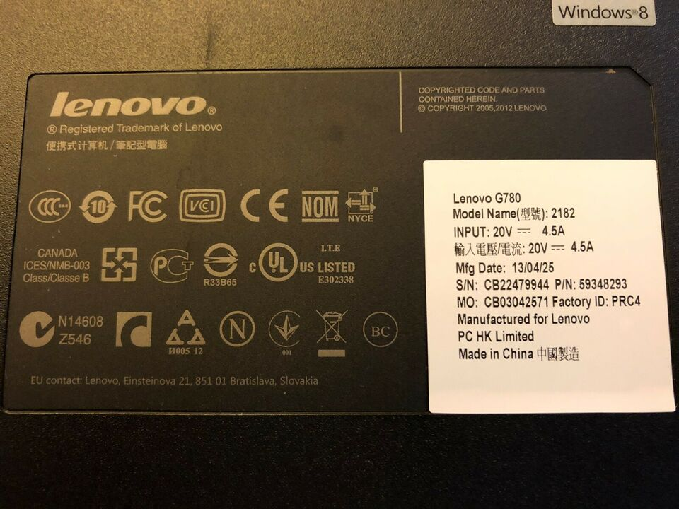 Lenovo G780, 2,2 GHz, 8 GB ram