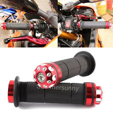 CNC ALUMINUM MOTORCYCLE HANDLEBAR RUBBER GEL HAND GRIPS+BAR END CAP PLUG RED YF