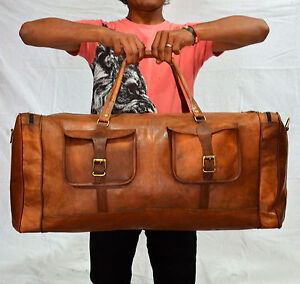 Details About 30 Real Brown Leather Genuine Duffle Bag Weekend Travel Air Cabin Luggage