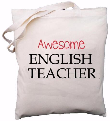 School Gift Natural Cotton Shoulder Bag Awesome English Teacher