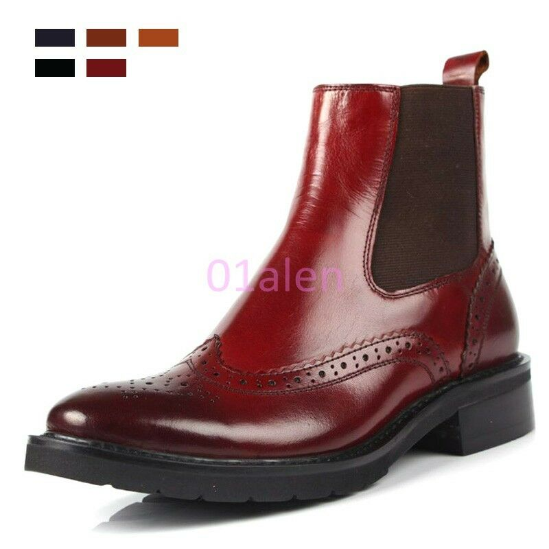 Donna Brogue Pelle Pelle Pelle Vintage Wing Tip Chelsea Ankle Boot Pull on Hi Tops 2018 e283c8