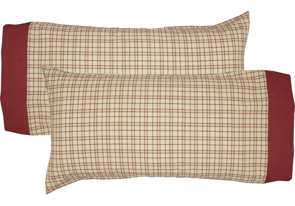 Cream Open Plaid King Cotton Pillowcase Set of 2 rot Border Grün Accent Tacoma