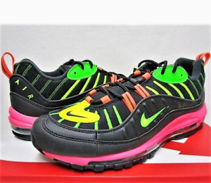 Details about NIKE AIR MAX 98 NEON BLACK BOLT CI2291 083 BLACK GREEN STRIKE RACER PINK US 12