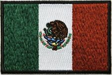 """(H26) Subdued MEXICAN FLAG 3"""" x 2"""" iron on patch (5206) Biker Mexico"""
