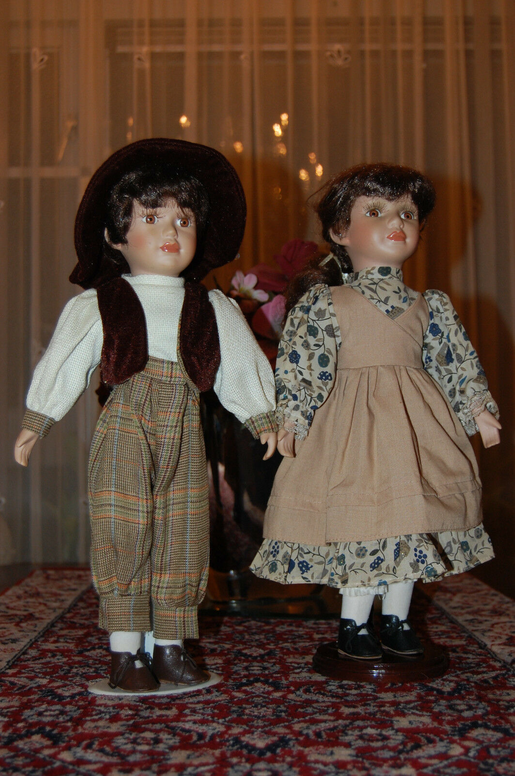 Vintage European Porcelain Doll Set Boy & Girl 40 CM