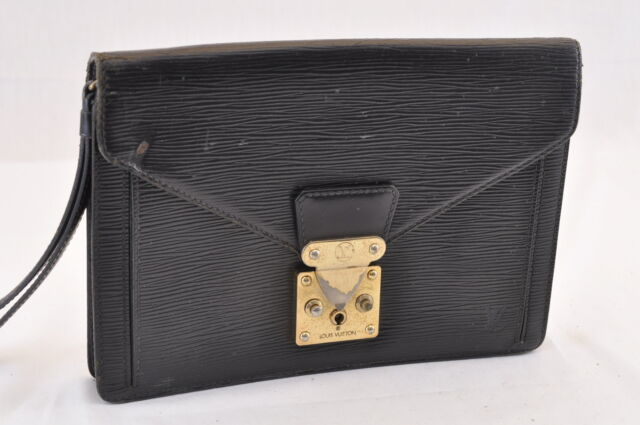 965b017dffb7 Auth Louis Vuitton Epi Sellier Dragonne M52612 Clutch Black Leather ...