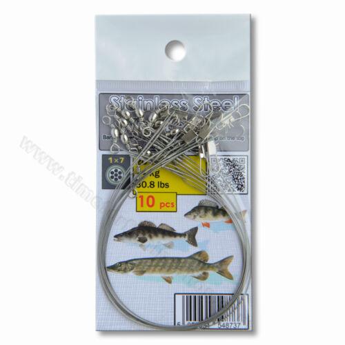 Pike Fishing Wire Traces 28cm 30lb 14kg Green Predator Soft Lure Jig Heads