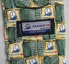 FRANCE 98 FIFA WORLD CUP VINTAGE Calcio Da Uomo Cravatta 1990's 100% seta da collezione