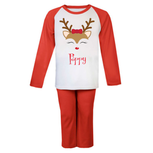 Personalised Name Girl Reindeer Christmas Pyjamas Girl Xmas Pjs Bow