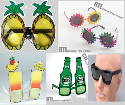 Adult Sunglasses Hawaiian party Pineapple Beer Bottle Cocktail Sunflower fancy