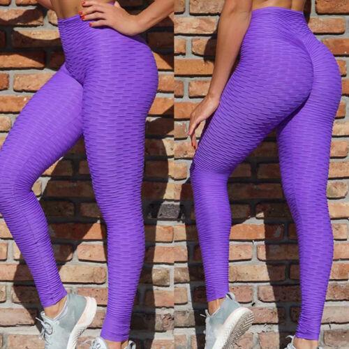 Women Anti-Cellulite Yoga Pants High Waist Push Up Leggings Trousers Honeycomb