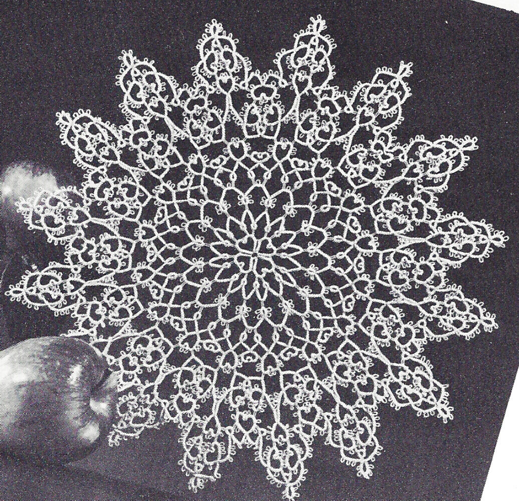 Pattern to Make Vintage Knitted Lace Doily Centerpiece Mat Lacy Whirlpool Design