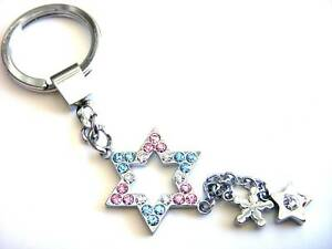 Key-Chain-Silver-Plated-Star-Pink-Blue-Crystals-Dangle-Charms-Free-Shipping-Gift