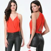 Bebe Red Draped Silk Surplice Bodysuit Top $79 Large L