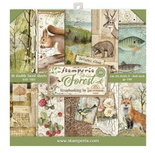 "Stamperia /'FOREST/' 8x8/"" Paper Pack 10 Sheets Animals//Fox//Bear//Deer Cardmaking"