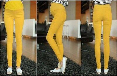 Maternity Pants High Waist Elastic Colorful Pregnant Pants Skinny Trousers