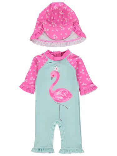Chicas Flamingo protección contra el sol UV Traje De Baño Y Sombrero conjunto 6-9 meses Nuevo BNWT
