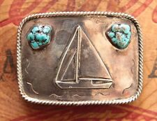 Vintage Hand Made Sterling Silver Turquoise Sale Boat Western Belt Buckle