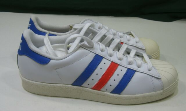 info for ac0f9 68f37 Adidas Mens Superstar 80s Sneakers 3 Bandes White Blue Red G99907 size 9