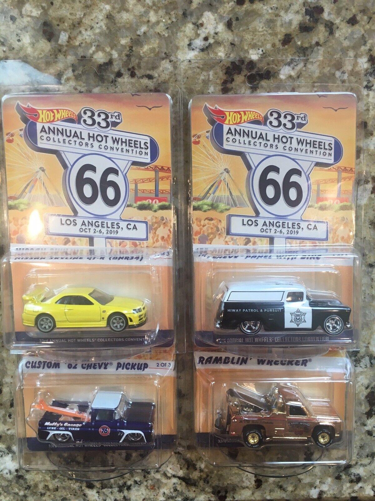 2019 Hot Wheels 33rd Convention Set of 4 Lot 55 62 Chevys Nissan Skyline Wrecker