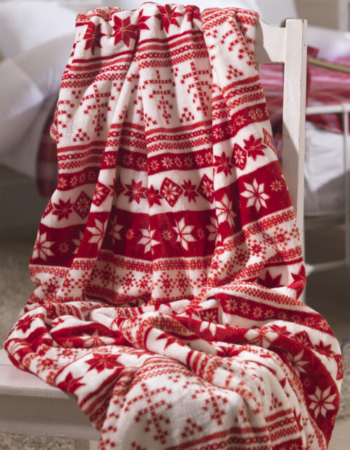 Red Nordic Snowflake Fleece Throw Christmas Festive Winter Fair Isle Mesmerizing Christmas Fleece Throws Blankets