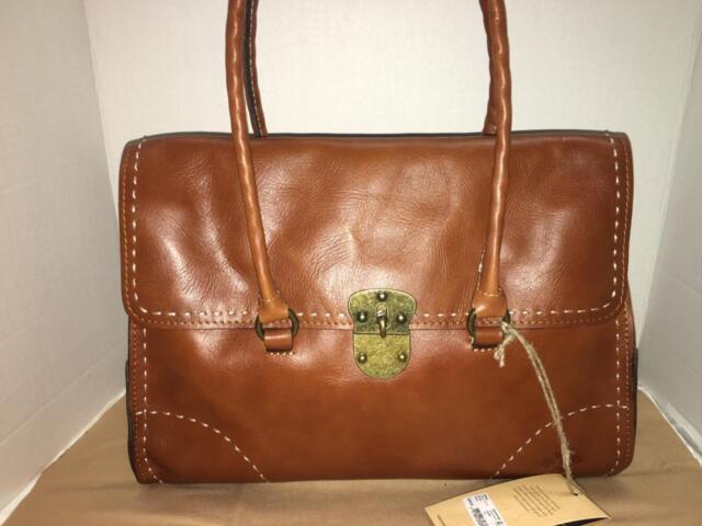 Patricia Nash Vienna Tan Leather Satchel Bag Purse P53182