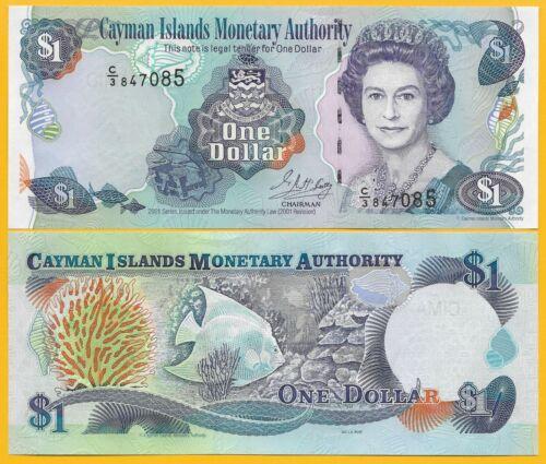 Cayman Islands 1 Dollar p-26b 2001 UNC Banknote