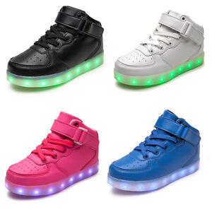 Ragazzo A Ragazza Ricarica Di Led Lampeggiante Dettagli Luminose Su Alto Sneakers Scarpe w8mN0n