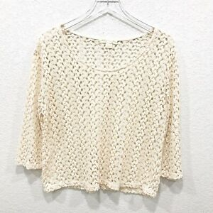UO-Staring-At-Stars-Womens-Cropped-Top-Crochet-M-Lace-Cream-3-4-Sleeve-Ivory-44