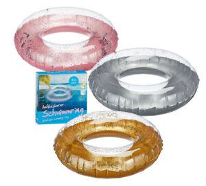 Schwimmring-mit-Glitzer-pink-silber-gold-Glitter-Tube-90-cm-Schwimmreifen