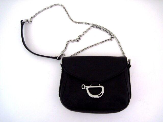 02e8e93064ec LAUREN RALPH LAUREN Black Leather Newbury Mini Shoulder Bag Chrome Hardware