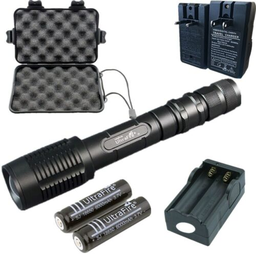 Powerful 10000LM T6 Waterproof Flashlight Torch Zoom Focus+18650/&Charger uk