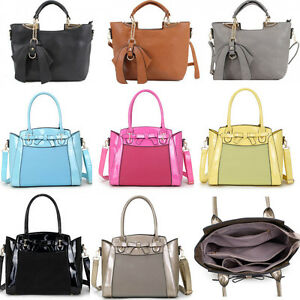 41535a466e10 Women s Bow Charm Handbags Nice Faux Leather Shoulder Tote Bag For ...